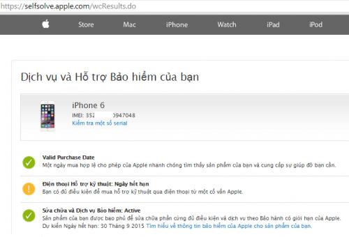 Kiểm tra iPhone 6 chưa active