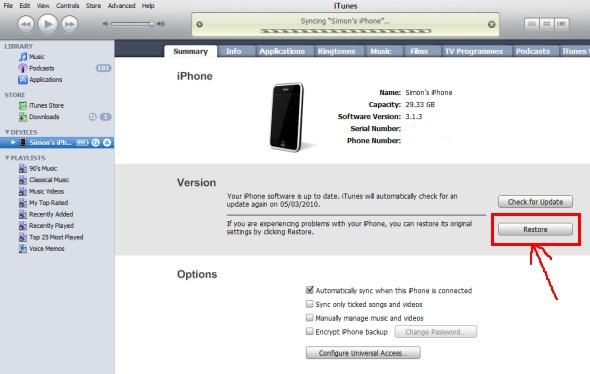 Restore khi iPhone 4 bị sọc màn hình