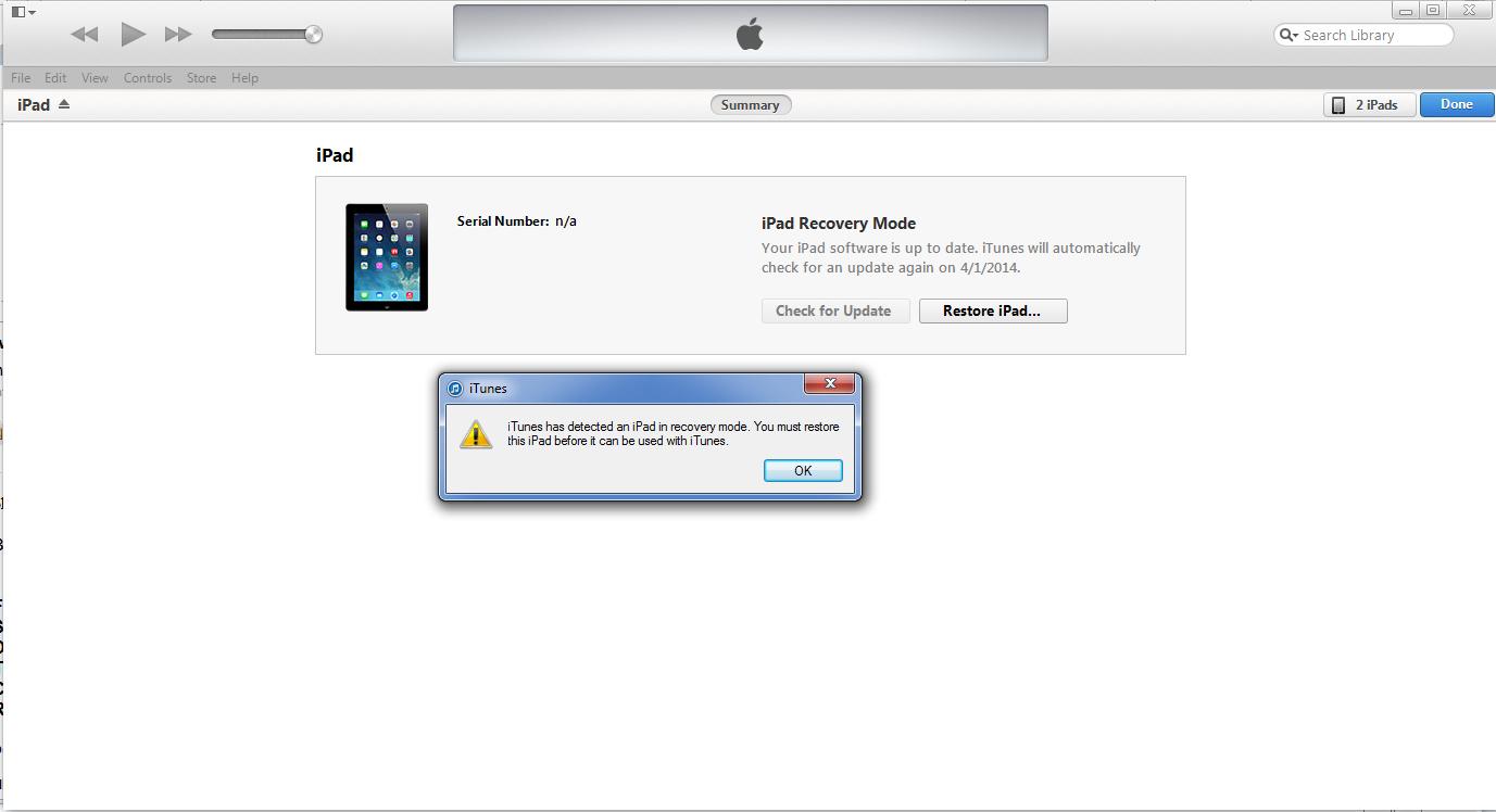 Lỗi khi restore iPad